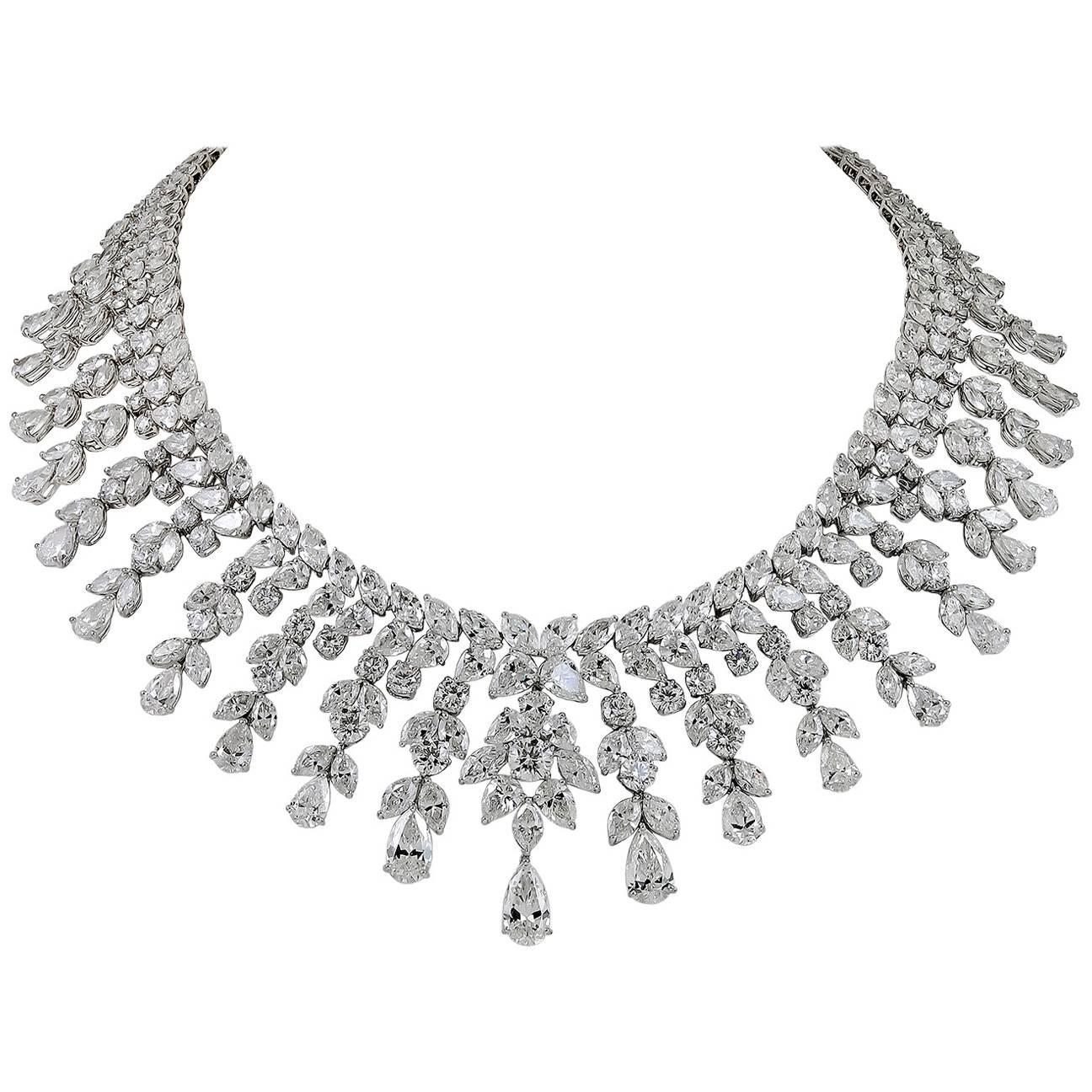 Modern Platinum Diamond Necklace