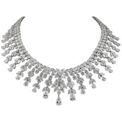 Modern Platinum Diamond Necklace