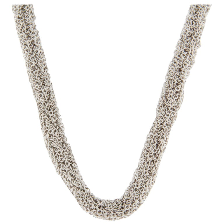 Jona Sterling Silver Woven Long Chain Necklace