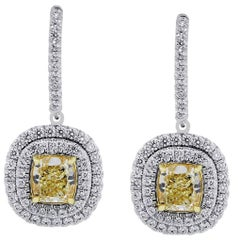 GIA Certified 2.32 Carat Total Yellow Cushion Cut Diamond Earrings