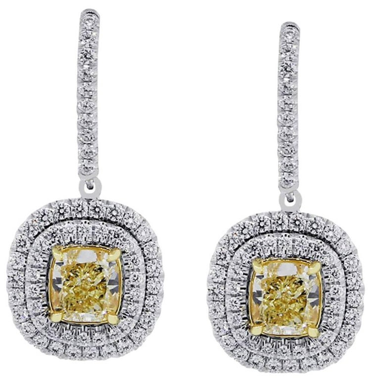 GIA Certified Fancy Yellow Cushion Cut Diamond Earrings