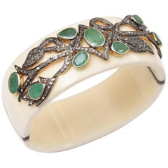Bakelite Cuff Bracelet with Diamonds and Emeralds