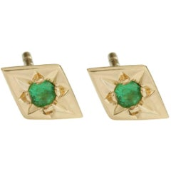Ellie Air Star Set Emerald Gold Stud Earrings