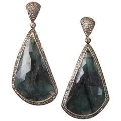 Rose Cut Emerald and Diamond Drop Earrings