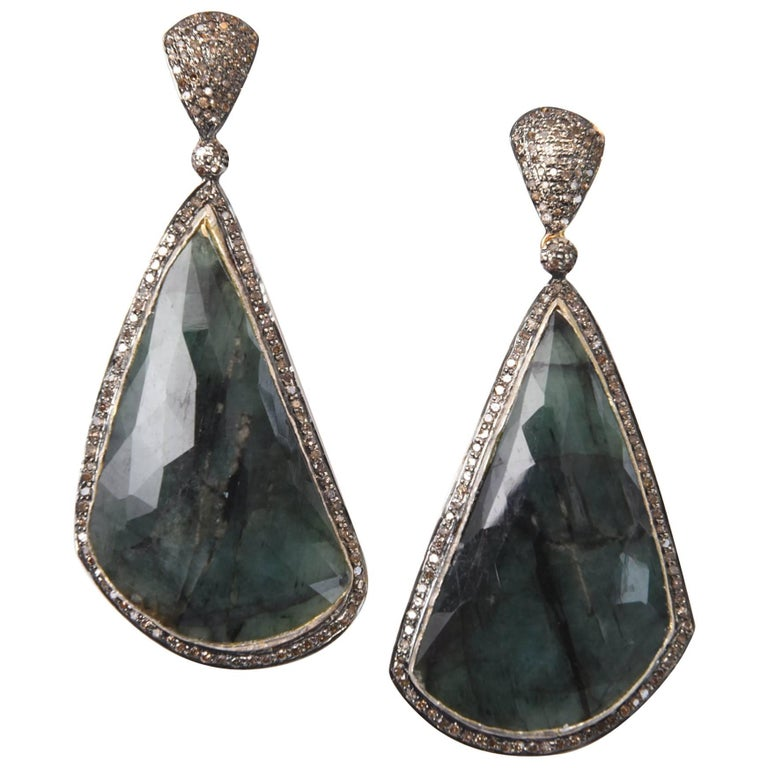 Rose Cut Emerald and Diamond Drop Earrings For Sale