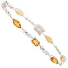 Citrine, Diamond and 18K Gold Bracelet