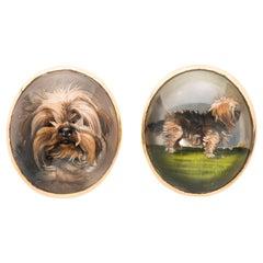 Art Deco Essex Crystal Terrier Cufflinks