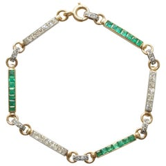 Lacloche Diamond and Emerald Gold and Platinum Bracelet