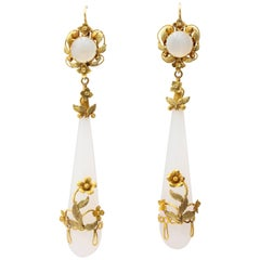 Long Georgian Wrapped Chalcedony Chandelier Earrings