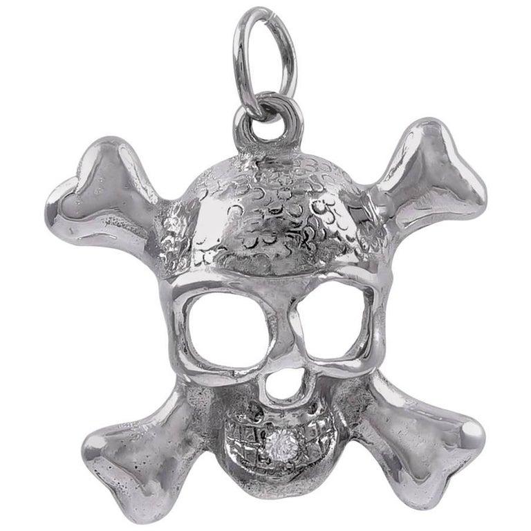 White Gold and Diamond Skull Pendant