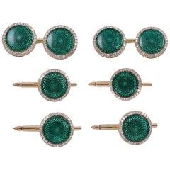 Antique Diamond Emerald Green Enamel Gold Men's Dress Set