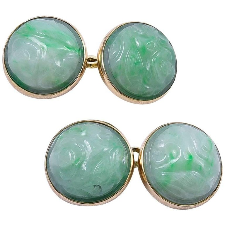 Antique Carved Jade Gold Cufflinks