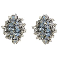 Luise Aquamarine and Diamonds Stud Gold Earrings