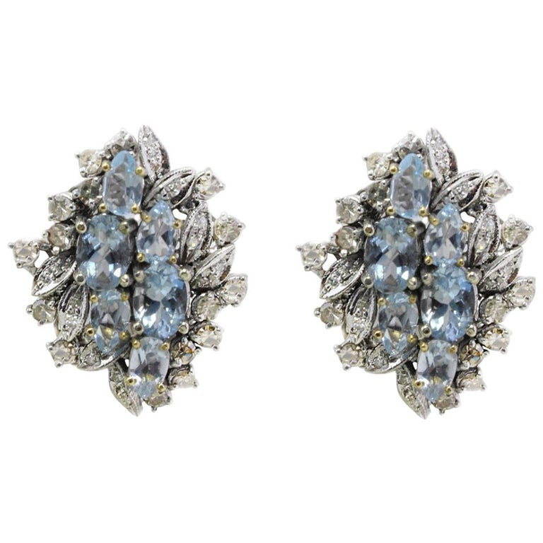 Luise Aquamarine and Diamonds Stud Gold Earrings For Sale