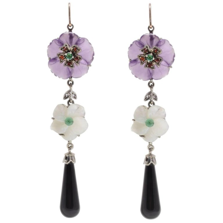 Amethyst, Onyx and Mother-of-Pearl Drop Rose Gold and Silver Earrings
