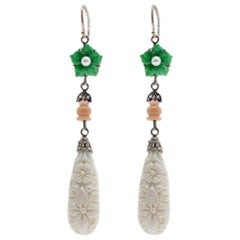 Luise Coral, Green Agate and Bone Drop Rose Gold and Silver Earrings