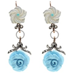 Luise Mother-of-Pearl and Turquoise Dangle Rose Gold and Silver Earrings