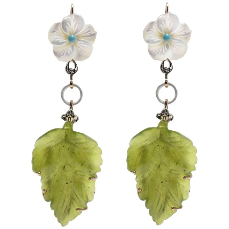 Mother-of-Pearl and Jade Dangle Gold Earrings