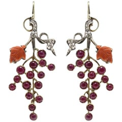 Luise Ruby and Coral Dangle Gold Earrings
