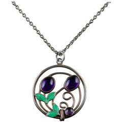Victorian Suffragette Arts & Crafts Fruit Pendant Necklace Silver