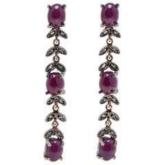 Luise Diamonds and Cabochon Cut Rubies Dangle Rose Gold End Silver Earrings