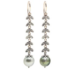 Diamonds and Pearl Dangle Earrings
