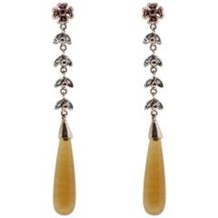 Luise Diamonds, Rubies and Amber Drop Earrings