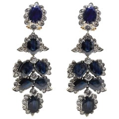 Luise Diamonds and Rubies Chandelier Rose Gold and Silver Earrings