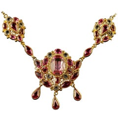 Antique Victorian Pink Paste Necklace, circa 1870