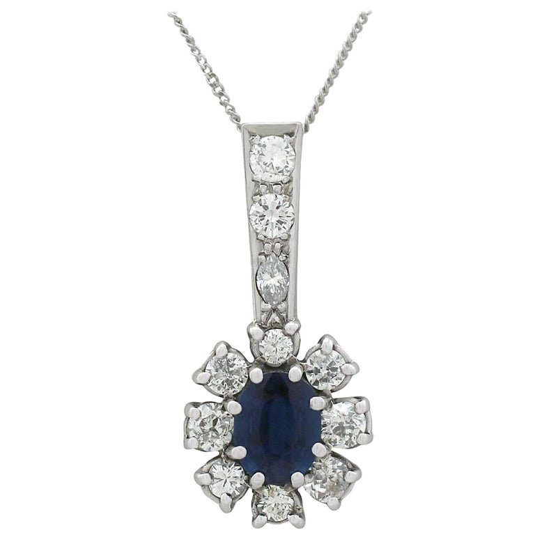 1970s Sapphire and Diamond White Gold Cluster Pendant For Sale