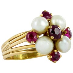 Natural and Synthetic Ruby Pearl Ring
