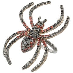 18 Karat White Gold Diamond Spider Ring