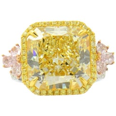 Fancy Yellow and Pink Diamond Ring GIA Certified