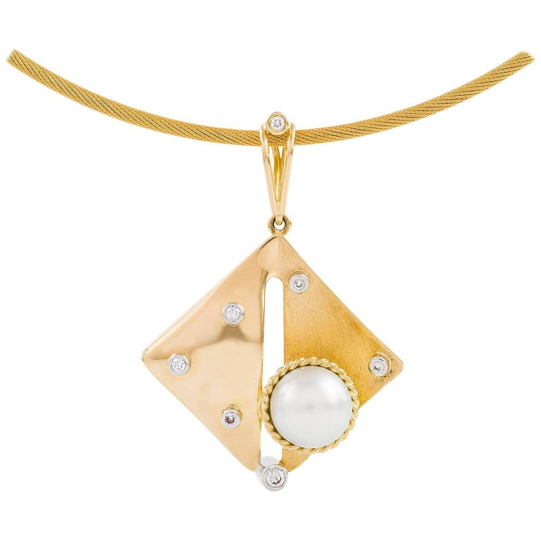 Kian Design 18 Carat Two-Tone South Sea Pearl and Diamond Pendant  For Sale