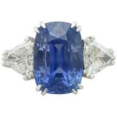 1990s Ceylon Sapphire and Diamond White Gold Dress Ring