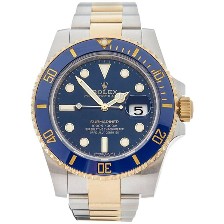 Rolex Yellow Gold Stainless Steel Submariner Automatic Wristwatch, 2017 1