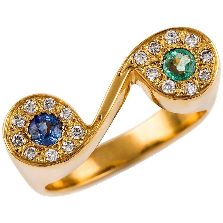 Kian Design 18 Carat Yellow Gold Emerald, Sapphire and Diamond Ring