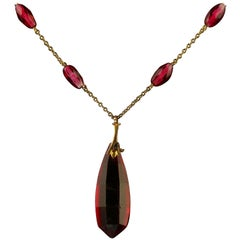 Antique Victorian Cranberry Glass Gold Dropper Necklace