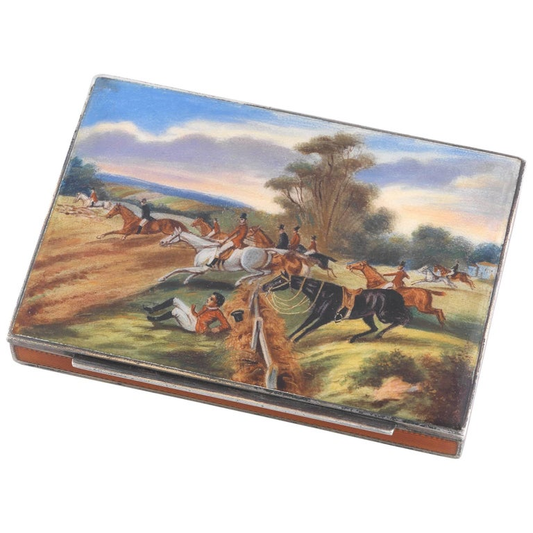 Continental Sterling Cigarette Case with Enameled Hunting Scene