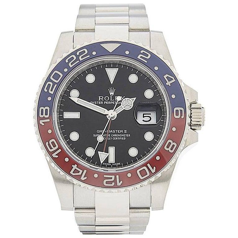 Rolex White Gold GMT Master II Pepsi Automatic wristwatch Ref W4193