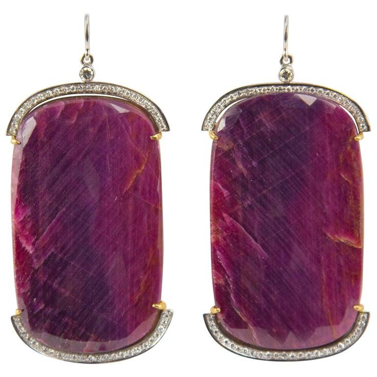 Outstanding Large Ruby Slice Diamond Drop Gold Earrings