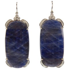 Dynamic Large Sapphire Slice Diamond Drop Gold Statement Earrings
