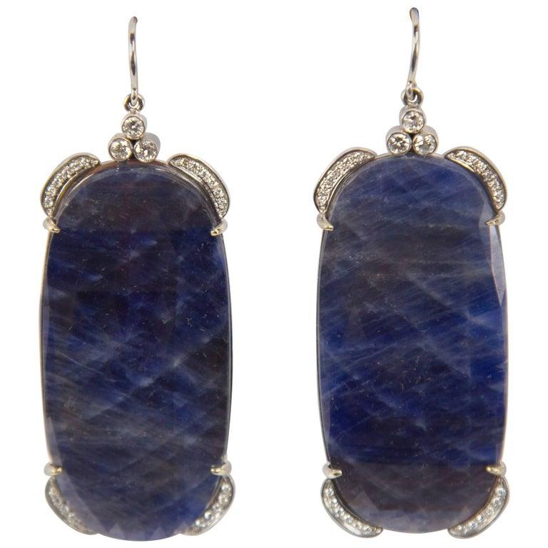 Dynamic Large Sapphire Slice Diamond Drop Gold Statement Earrings