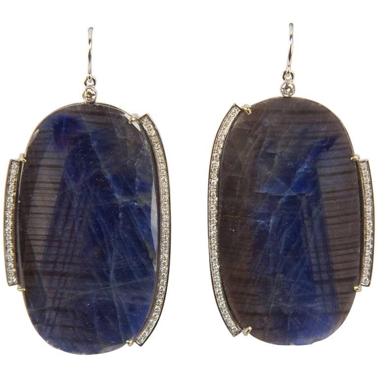 Dynamic Sapphire Slice Diamond Drop Gold Earrings