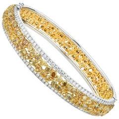 White Gold Fancy Yellow Diamond Bangle with White Diamonds