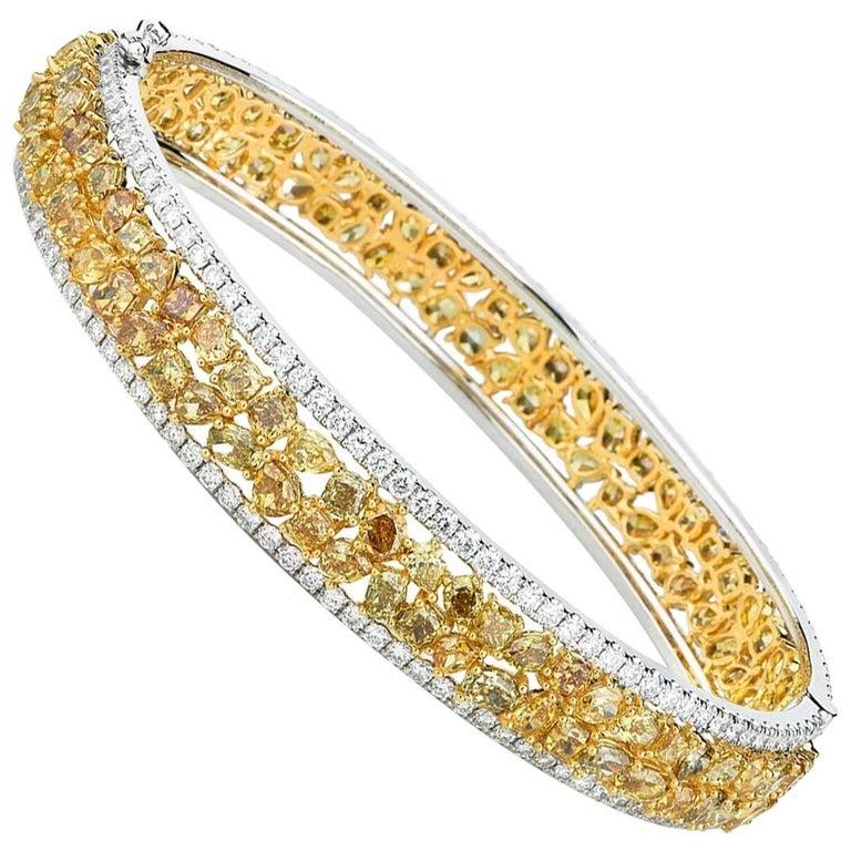White Gold Fancy Yellow Diamond Bangle with White Diamonds 1