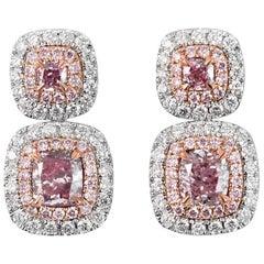 White Gold Fancy Pink Drop Earrings GIA Certified