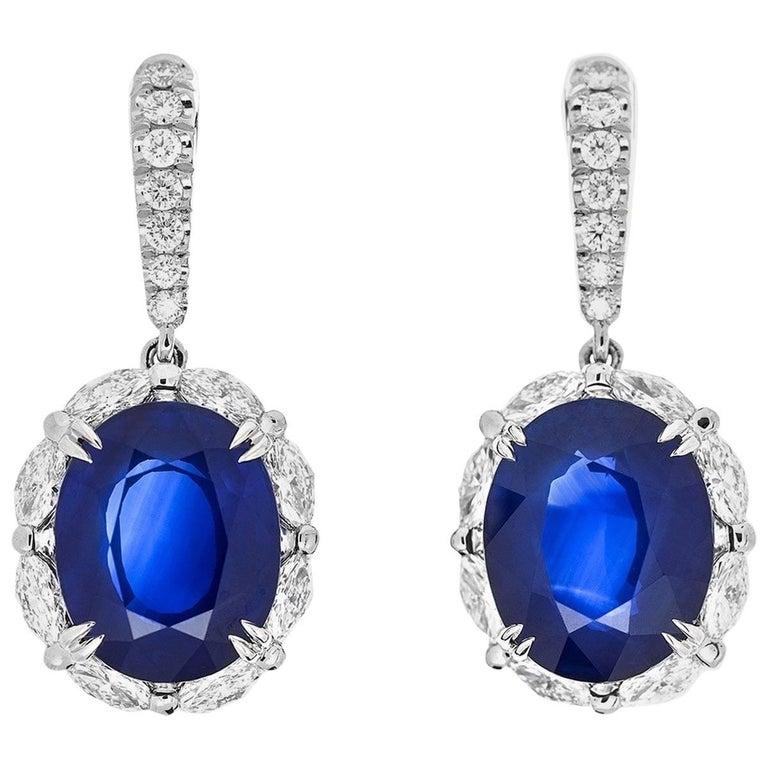 Natural Sri-Lanka Royal Blue Sapphire Drop Earrings with Diamonds GRS Report