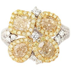 Fancy Yellow Diamond Ring with White Diamonds Flower Design