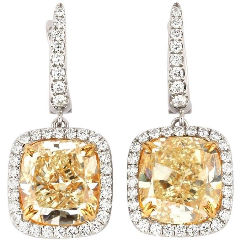 GIA Certified Yellow Diamond Cushion Cut Drop Earrings